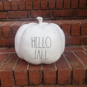 Rae Dunn HELLO FALL bone colored pumpkin